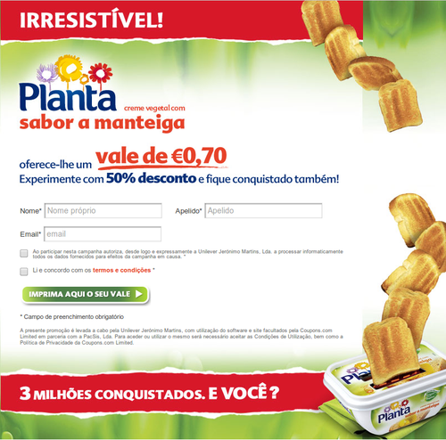 0,70€ de desconto em Planta Sabor Manteiga