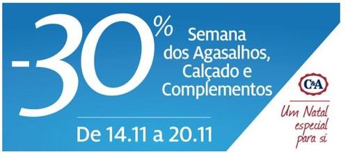 30% de desconto | C&A | Calçado, Agasalhos e Complementos, de 14 a 20 novembro