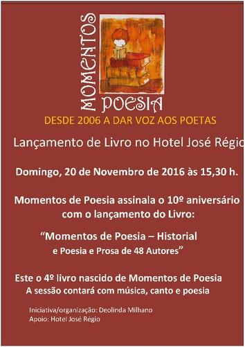 """""""Momentos de Poesia"""" - Cartaz Novembro 2016 Livro"""