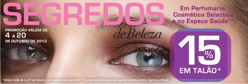 15% em Talão, em Perfumaria, cosmética e no espaço saúde, até 20 Outubro