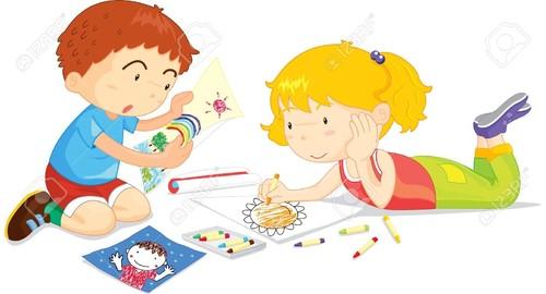 13215664-Deux-enfants-de-dessin-photos-ensemble-Ba