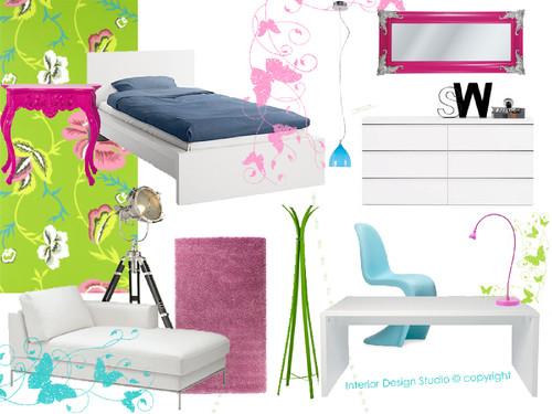 Solução para quarto muito jovem , moderno e colorido