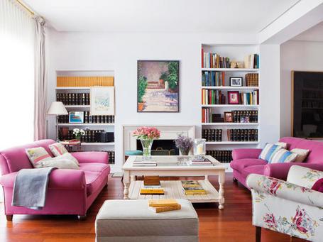 Sala em rosa e branco decora o e ideias - Pintar salon pequeno ...