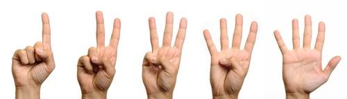 Mão a contar até cinco