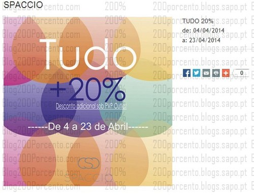 20% adicional em tudo   THE STYLE OUTLETS   Spaccio de 4 a 23 abril