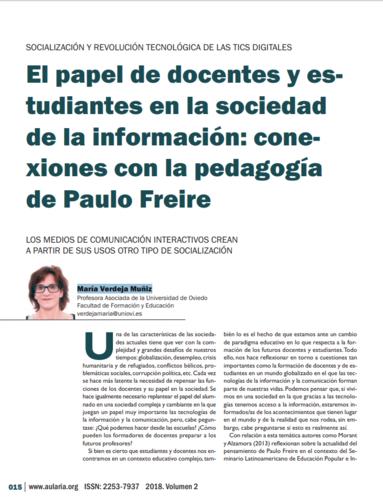 O papel de docentes e estudantes na sociedade da informação: conexões com a pedagogia de Paulo Freire | maría verdeja muñiz