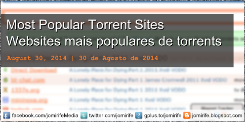 Blog Post: Most Popular Torrent Sites | Os websites mais populares de torrents