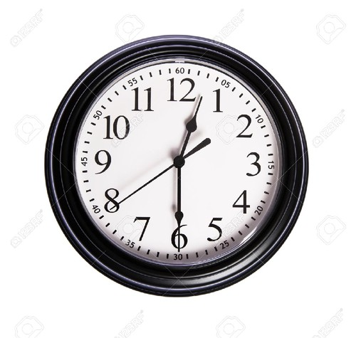 6142395-Wall-clock-shows-12-30-on-white-isolated-b