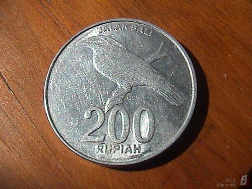 Moeda: 200 Rupia da Indonésia (trás)