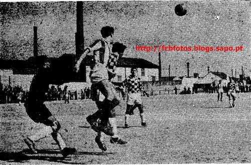 1956-57-fcb-boavista a defesa do boavista em acç