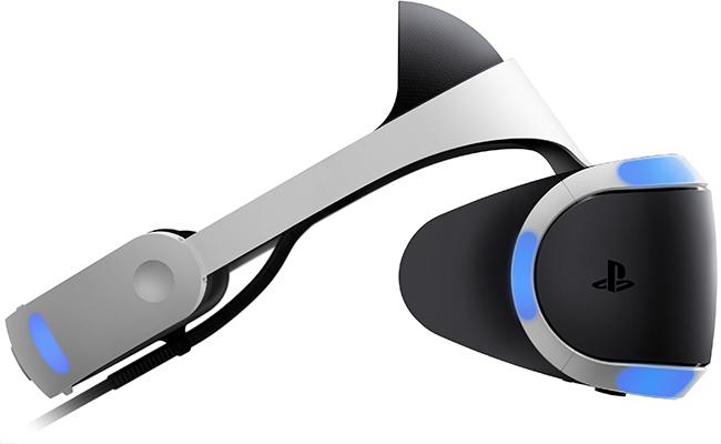 O capacete PS VR visto de lado