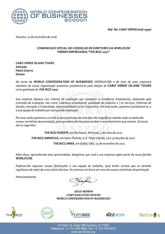 Comunicado oficial de seleção para CABO VERDE IS