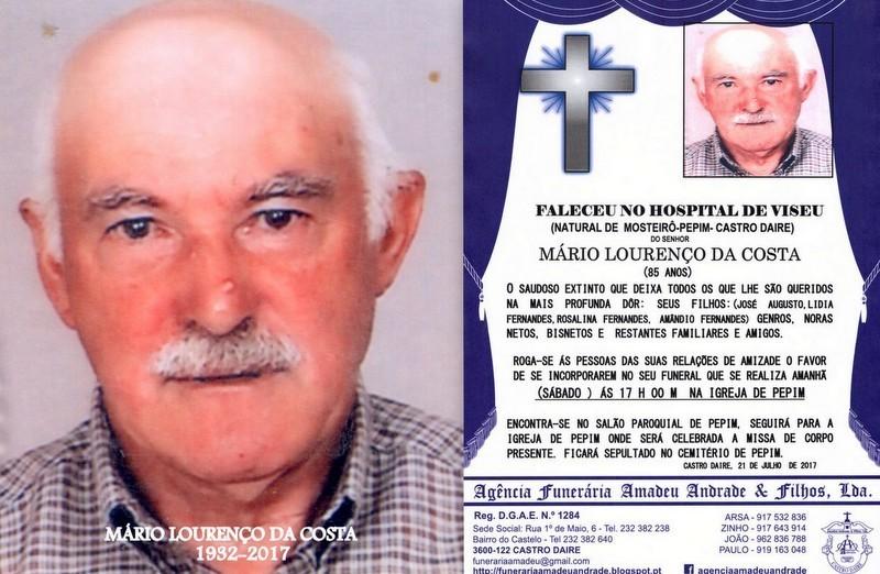 FOTO RIP-DE MÁRIO LOURENÇO DA COSTA -85 ANOS (MO