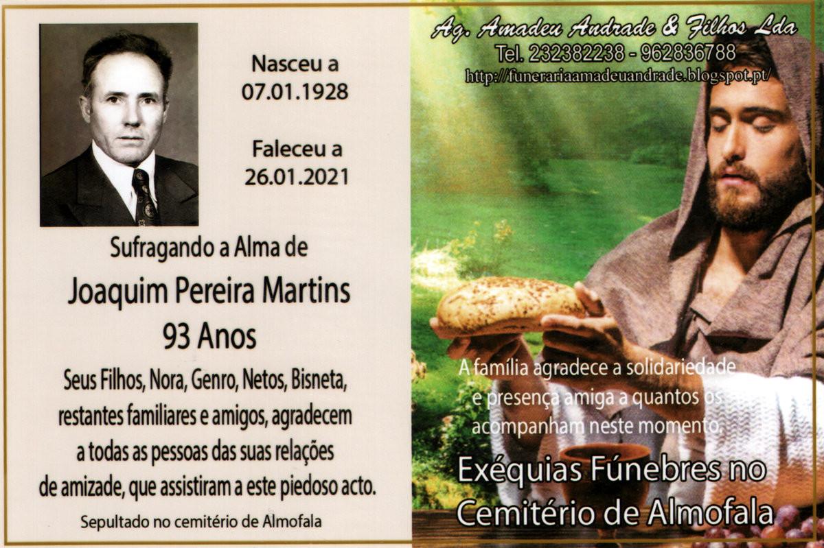 CARTÃO DE AGRADECIMENTO DE  JOAQUIM PEREIRA MARTI