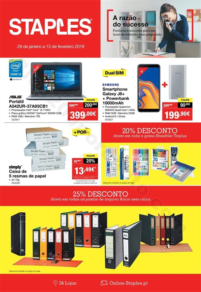 Antevisão Folheto STAPLES 29 janeiro a 13  fevere