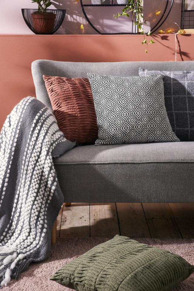 Terracota Pleated Cushion €10, White Tribal Cush