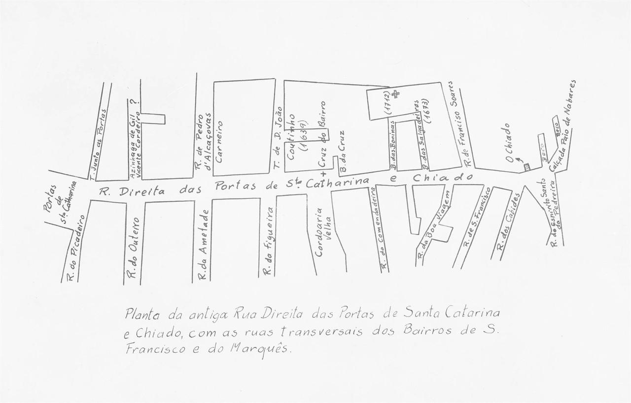 Planta da antiga rua Direita das Portas de Santa C