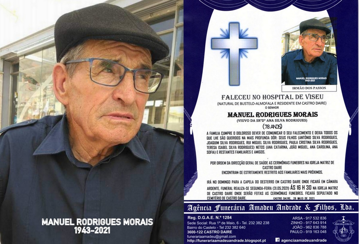 FOTO RIP MANUEL RODRIGUES MORAIS-78 ANOS (CASTRO D