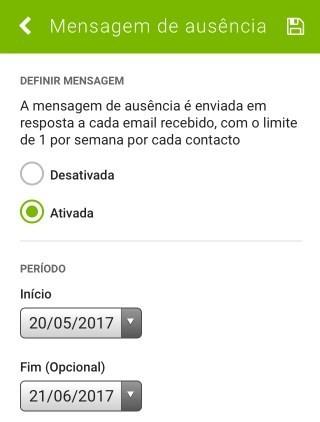 SAPO Mail - definições de mensagem