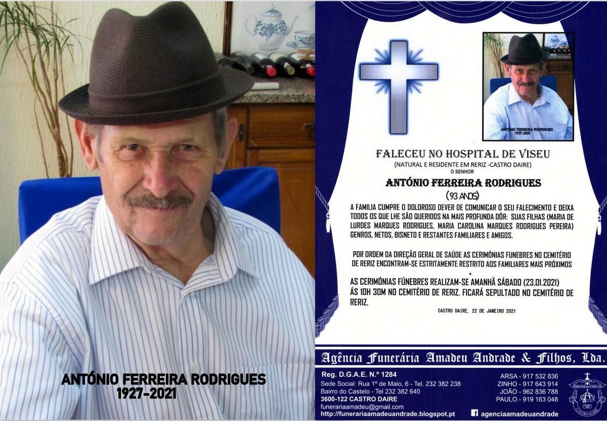 FOTO RIP  DE ANTÓNIO FERREIRA RODRIGUES -93 ANOS.