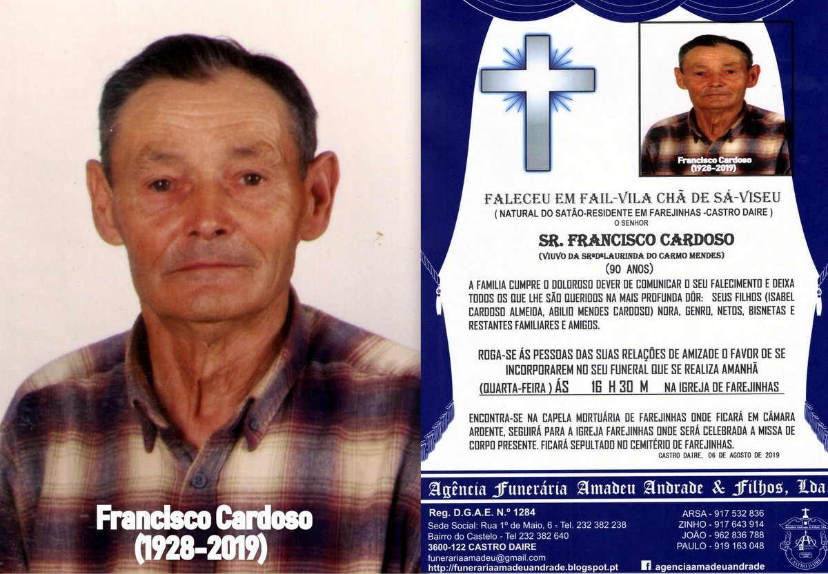 FOTO RIP DE FRANCISCO CARDOSO-90 ANOS (FAREJINHAS)