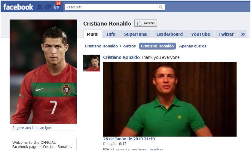 cristiano ronaldo no facebook