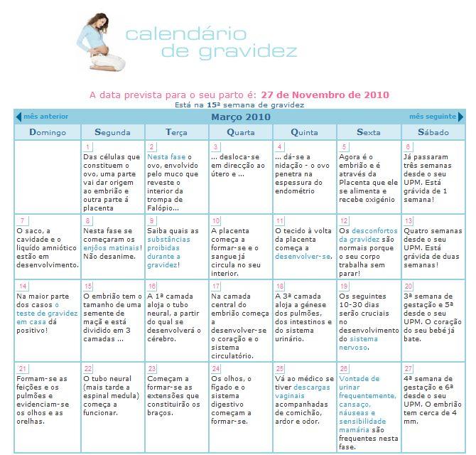 calendário de gravidez