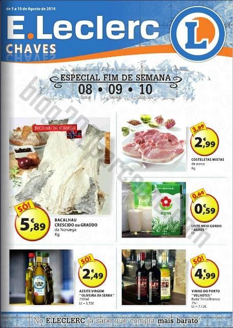 Antevisão Folheto E-LECLERC Chaves Promoções de 5 a 10 agosto