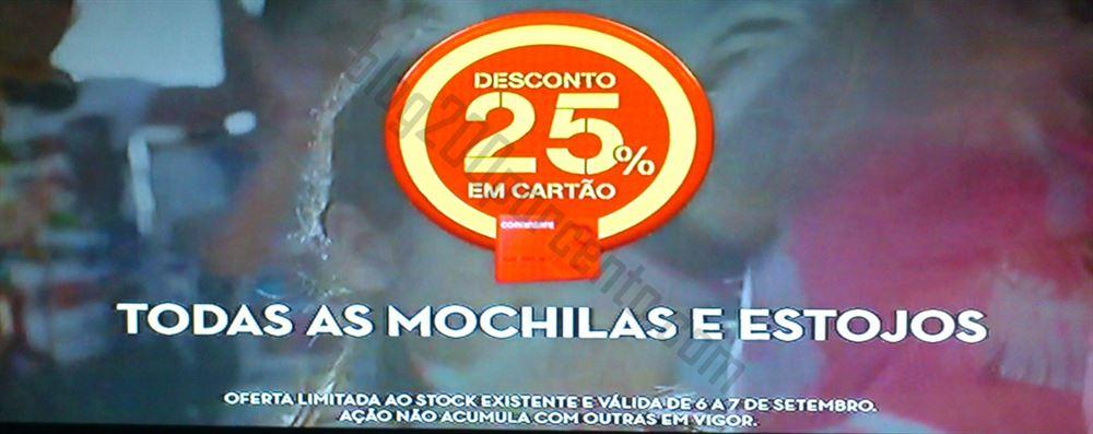 Avistamento 25% de desconto CONTINENTE Mochilas e Estojos, dias 6 e 7 setembro