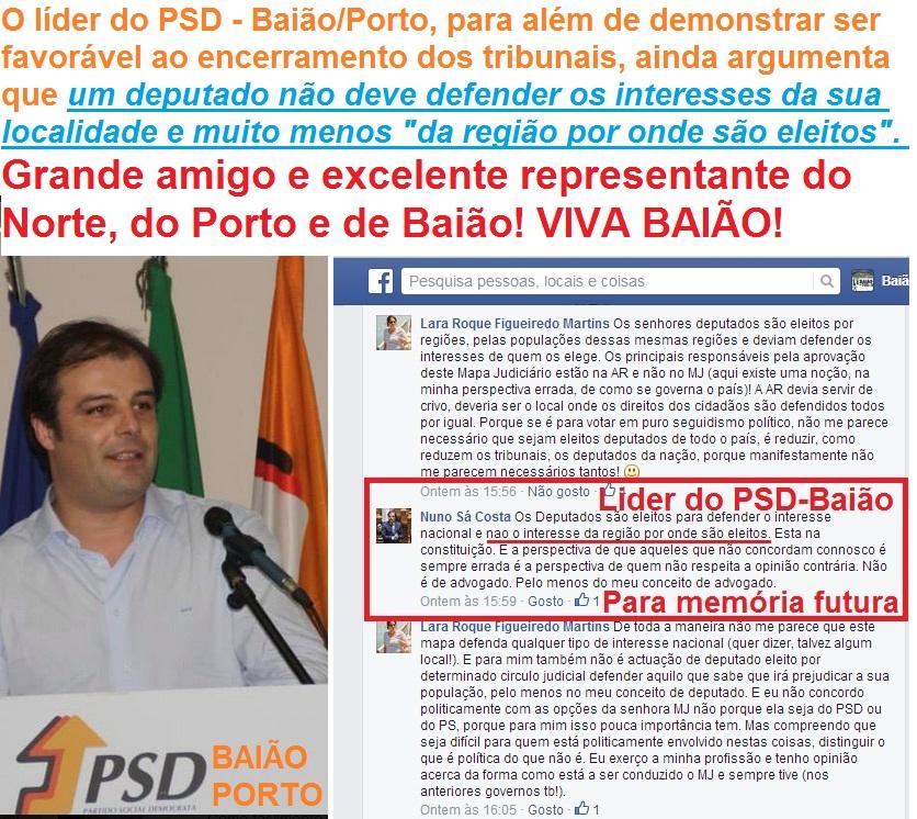 psd Baião Nuno Sá Costa Reforma do Mapa Judiciário e encerramento dos tribunais