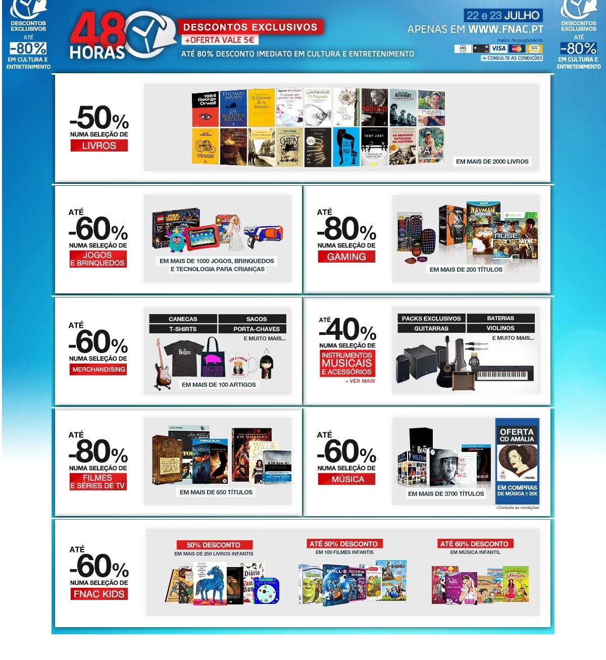 Promoções FNAC até 80% de desconto - até 23 julho