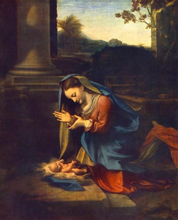 Corregio, «Adoração do Menino», 1818-20 (Óleo s/ tela, 81 x 67 cm -- Galeria de Uffizzi, Florença)